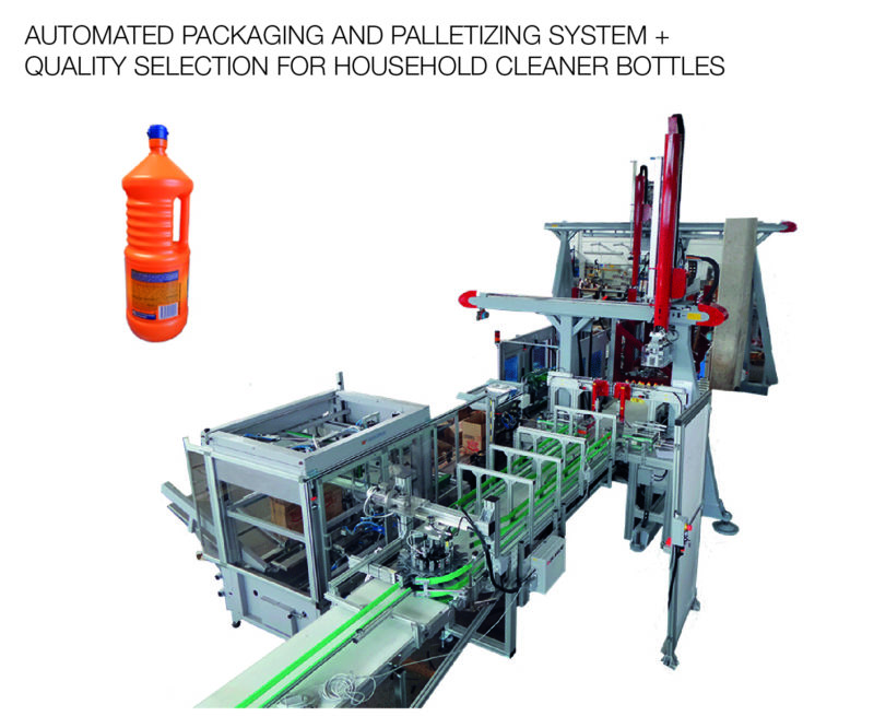 AUTOMATED PACKAGING AND PALLETIZING SYSTEM + QUALITY SELECTION FOR HOUSEHOLD CLEANER BOTTLES-01