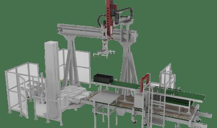 Linea di prelievo, montaggio e confezionamento di scaffali componibili in plastica