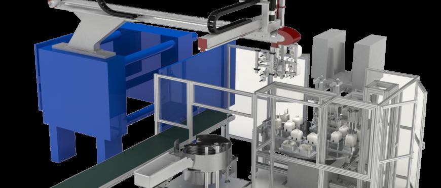 Automação para carregamento de insertos, soldagem e testes de qualidade para componentes de aquecedores de água